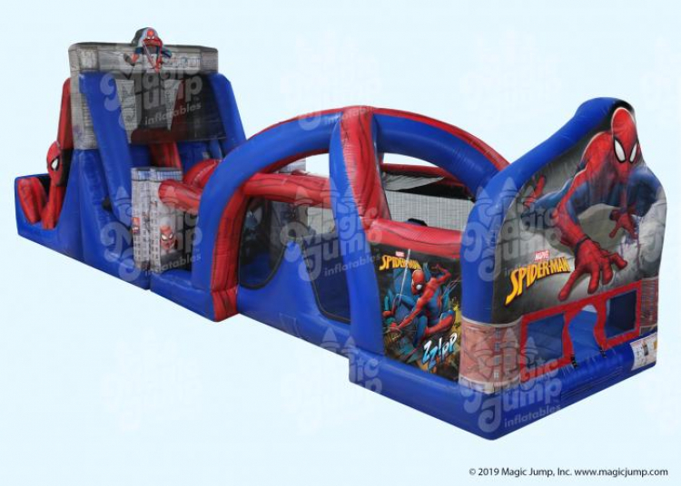 50ft Spider Man WATER Obstacle Course